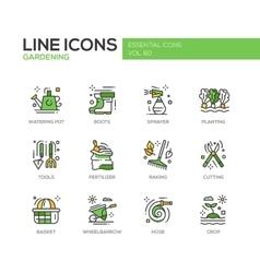 Gardening - line design icons set vector