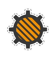 gear construction engine cut line vector image