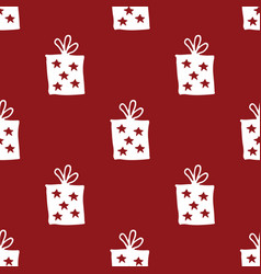 gift seamless pattern hand drawn gift boxes vector image