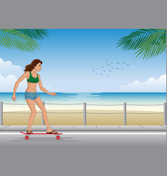 girl riding long board at beach vector image