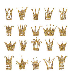 Gold crown set isolated on white background vector
