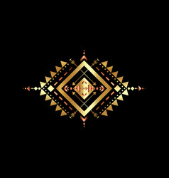 gold mexican aztec tribal sacred geometry logo vector image