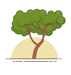Green tree icon line color nature symbol vector