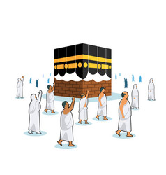 Hajj pilgrimage walk surrounding half open cover vector