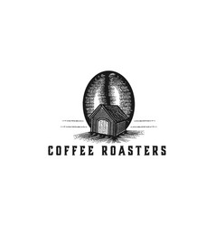 hand drawn coffee bean and house house coffee vector image