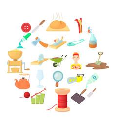 Handicraft icons set cartoon style vector