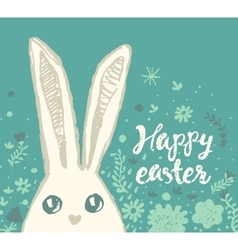 Happy Easter greeting card cute bunny vector image