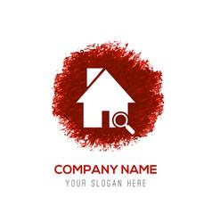 home icon - red watercolor circle splash vector image