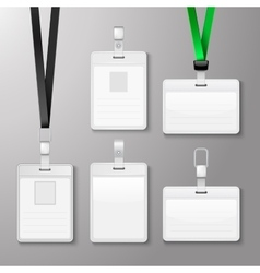 Identification white blank id cards set vector