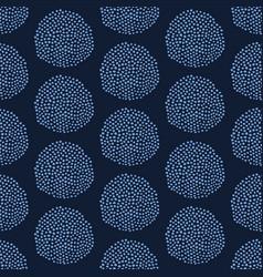 Indigo blue hand drawn seed circle pattern vector