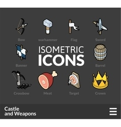 Isometric outline icons set 54 vector image