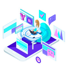 isometric young girl with laptop vector image