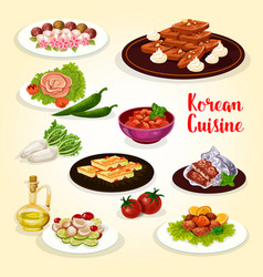 Korean food icon with dishes of asian cuisine vector