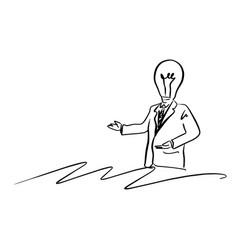 lamp head businessman presenting something vector image