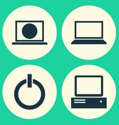 Laptop icons set collection of laptop power on vector