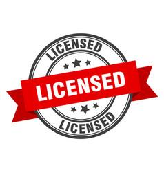 Licensed label licensed red band sign licensed vector