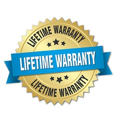 Lifetime warranty 3d gold badge with blue ribbon vector