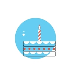 Line Icon with Flat Graphics Element of Birthday vector