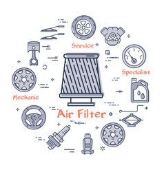 Linear round banner of air filter- car part vector