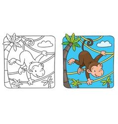 Little funny monkey on lians vector image