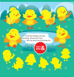 logic kid find duck form game printable worksheet vector image