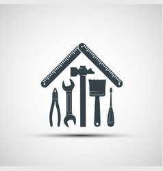 logo building hand tools like a house vector image