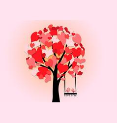 Love tree hearts shadow vector