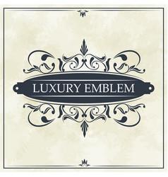luxury emblem swirl ornament typographic design vector image