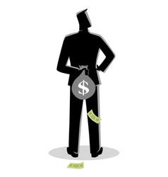man hiding a money bag behind his back vector image