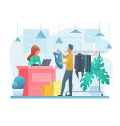 Man in clothing store flat vector