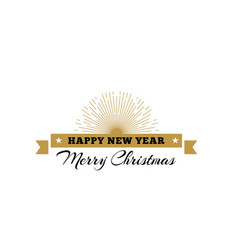 merry christmas decorative ribbon with sunburst vector image