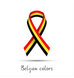 Modern colored ribbon with the belgian tricolor vector
