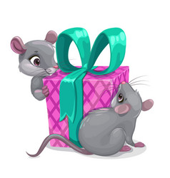 mouse birthday two cartoon mice with big gift box vector image