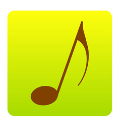 music note sign brown icon at green vector image