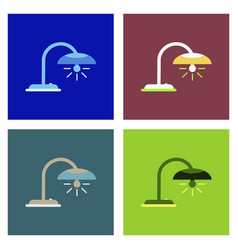 Office table lamp icon flat of office table lamp vector