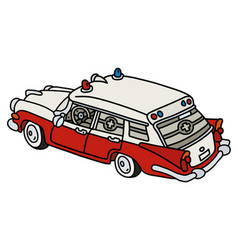 Old red and white ambulance vector