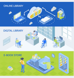 online library isometric banners vector image