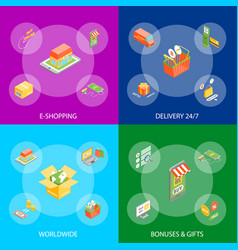 online shopping banner set isometric view vector image