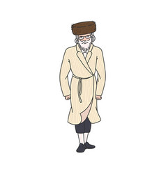 Orthodox jew man character in traditional clothes vector