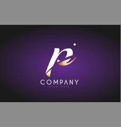 p alphabet letter gold golden logo icon design vector image