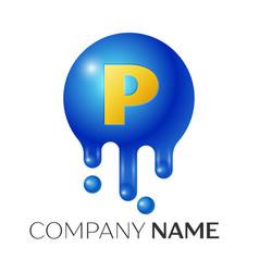 p letter splash logo blue dots and bubbles letter vector image vector image