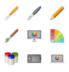 paint tools interface icons set cartoon style vector image