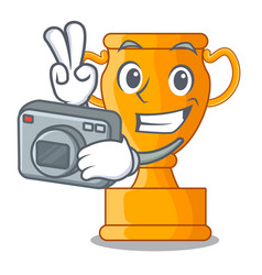 Photographer champion golden trophy on cartoon vector
