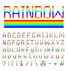 Pixel rainbow font 8-bit symbols digital video vector