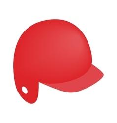 Red baseball helmet isometric 3d icon vector