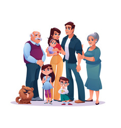 relatives portrait big family kids adults together vector image