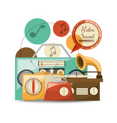 Retro radio to listent cds music vector