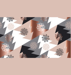 Rose gold color abstract xmas tree geometry vector