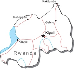 Rwanda Black White Map vector image