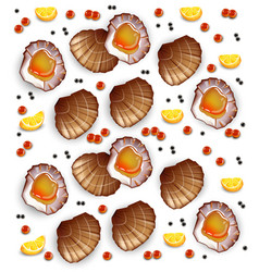Scallops pattern realistic seafood fresh vector